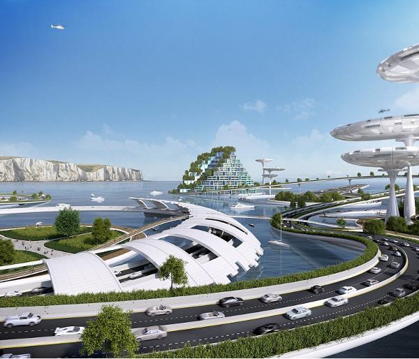 Φωτογραφία από τη Daily Mail. Οι πλωτές πόλεις θεωρούνται το δεύτερο πιθανότερο να συμβεί μέχρι το 2115 σενάριο