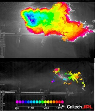 Εμφανές στην εικόνα αυτό που υποστηρίζουν οι ερευνητές: μέχρι σήμερα, όταν συμβαίνει ένα ατύχημα σε ένα αυτοκίνητο ή αεροσκάφος, τα καύσιμα τείνουν να διαχέονται και να αιωρούνται στον αέρα με την μορφή ενός λεπτού νέφους από σταγονίδια, που εύκολα αρπάζει φωτιά. Με το νέο υλικό, που αναμένεται να είναι διαθέσιμο στην αγορά εντός διετίας, η χημική δομή των υδρογονανθράκων των καυσίμων αλλάζει κι έτσι ο έλεγχός τους γίνεται πολύ πιο εύκολος.(Credit: Caltech/JPL)