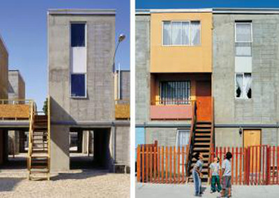 "Quinta Monroy Housing, 2004, Iquique, Chile Πηγή φωτογραφίας: Cristobal Palma — Left: ""Half of a good house"" financed with public money. Right: Middle-class standard achieved by the residents themselves."