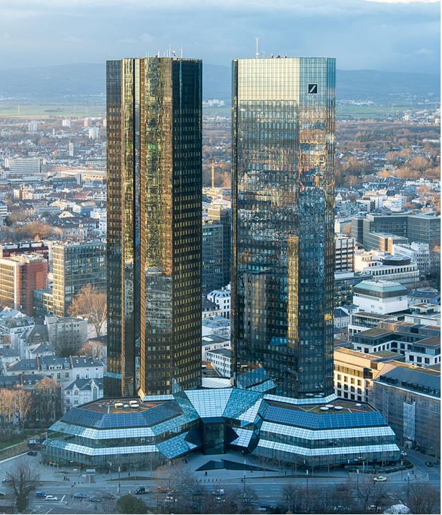 Photo credit: Epizentrum Frankfurt am Main: Deutsche Bank Twin Towers as seen from South-East (February 2014).